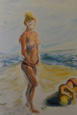 On the Beach, oil on linen, 76 x 51cm