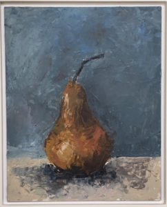 Pear, oil on board, 38 x 33cm (incl frame)