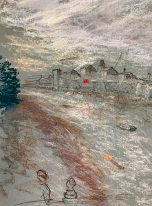 Putney bridge 3, pastel on paper, 50 x 37cm (incl frame)