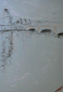 Putney bridge, pastel on paper, framed, 36 x 46cm