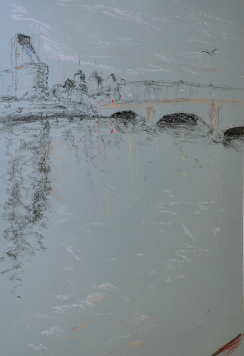 Putney bridge, pastel on paper, framed, 36 x 46cm