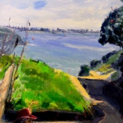 Red cap, manly from middle head, oil on stretched linen, 30 x 46cm