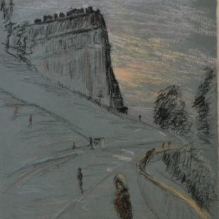 Sacrecoeur, dawn, with roadsweeper, pastel on paper, framed, 36 x 46cm