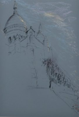 Sacrecoeur2, dawn, with dome, pastel on paper, framed, 36 x 46cm