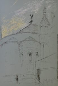 Sacrecoeur3, dawn, le chevalier, pastel on paper, framed, 36 x 46cm