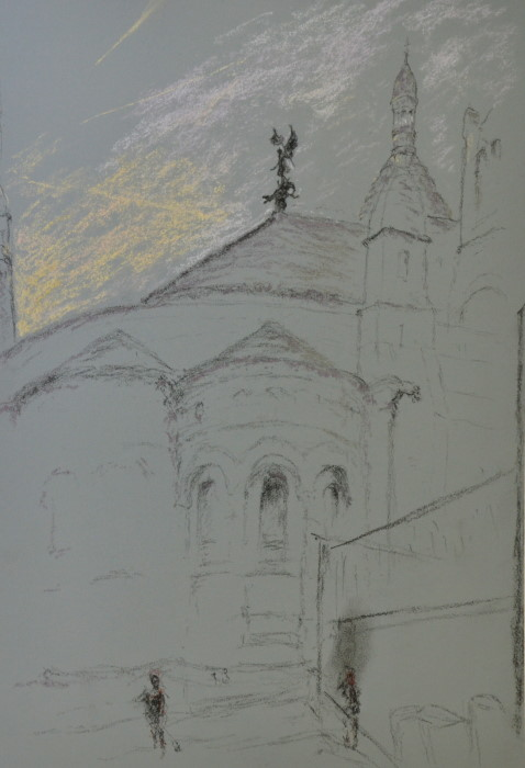 Sacrecoeur3, dawn, le chevalier, pastel on paper, framed, 36 x 46cm