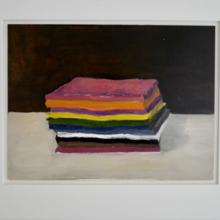 Stack of Paper, oil on panel, 46 x 57 (incl frame)