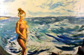 Surf Girl at Beach, oil on linen, 91 x 61cm