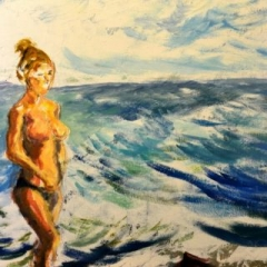 Surf girl3 at beach, oil on stretched linen, 91 x 61cm