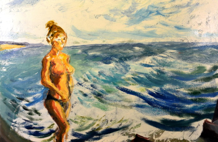Surf Girl at Beach, oil on linen, 91 x 61cm