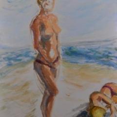 Surf girl4 left, oil on linen, 51 x 76cm
