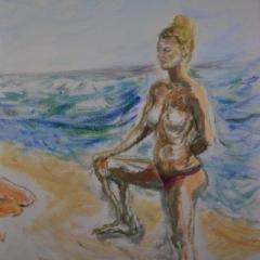 Surf girl4 right, oil on linen, 51 x 76cm