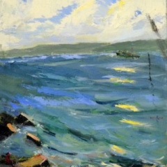 Sydney heads with watcher, oil on linen, 44 x 54cm (framed)