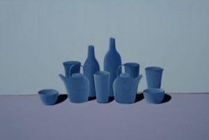 Tea set, oil on gesso panel, 61 x 91 5cm (incl frame)
