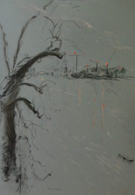 Wandsworth1 with tree, pastel on paper, framed, 36 x 46cm