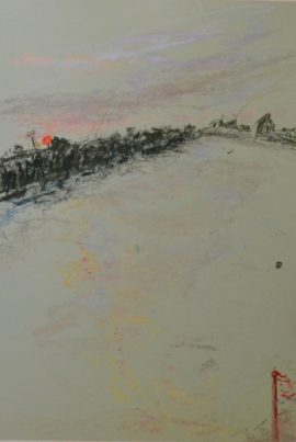 Wandsworth2 With Flag, pastel on paper, framed, 36 x 46cm