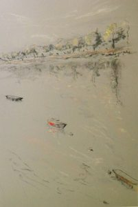 Wandsworth3 with red barge, pastel on paper, framed, 36 x 46cm