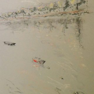 Wandsworth 3 with Red Barge, pastel on paper, framed, 36 x 46cm