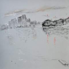 Wandsworth4 with red cranes, pastel on paper, framed, 36 x 46cm