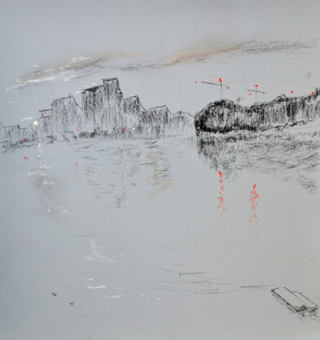 Wandsworth 4 with Red Cranes, pastel on paper, framed, 36 x 46cm