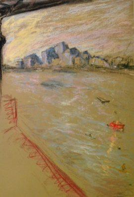 Wandsworth 5 with bridge, pastel on paper, framed, 36 x 46cm