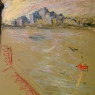 Wandsworth 5 with bridge, pastel on paper, framed, 36 x 46cm