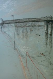 Wandsworth6 with rowers, pastel on paper, framed, 36 c 46cm