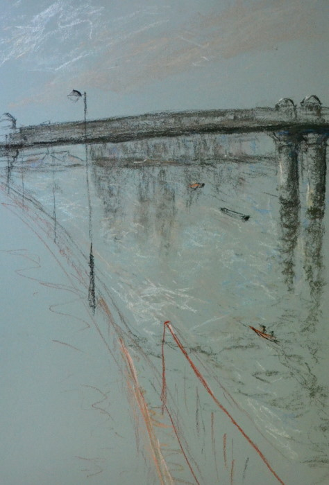 Wandsworth 6 with rowers, pastel on paper, framed, 36 c 46cm