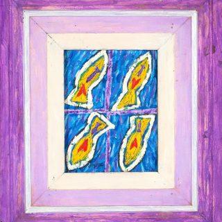 Aqua acrylic on canvas, 44cm x 50cm (incl. frame).