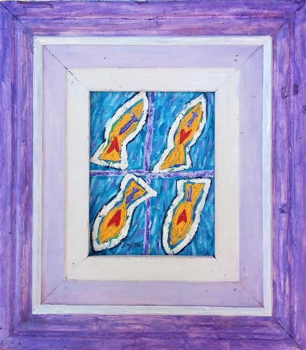 Aqua acrylic on canvas, 44cm x 50cm (incl. frame)