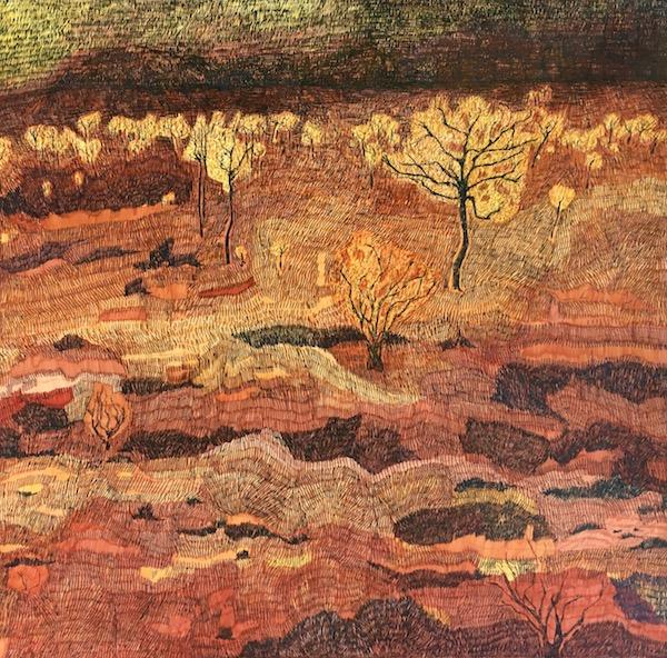 Dawn - Kata Tjuta, ink on paper, 77 x 78cm