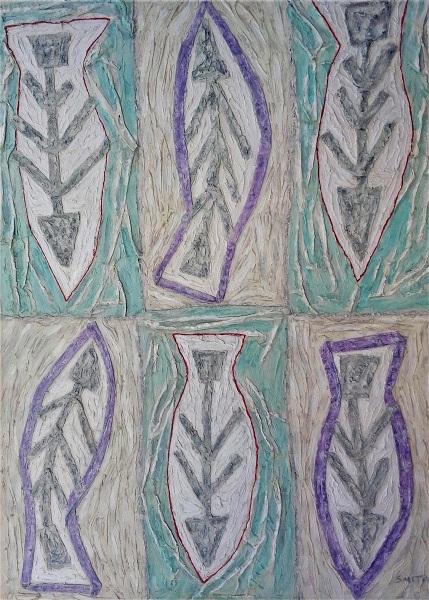 Fish Bone mixed media on canvas, 90 x 125 cm