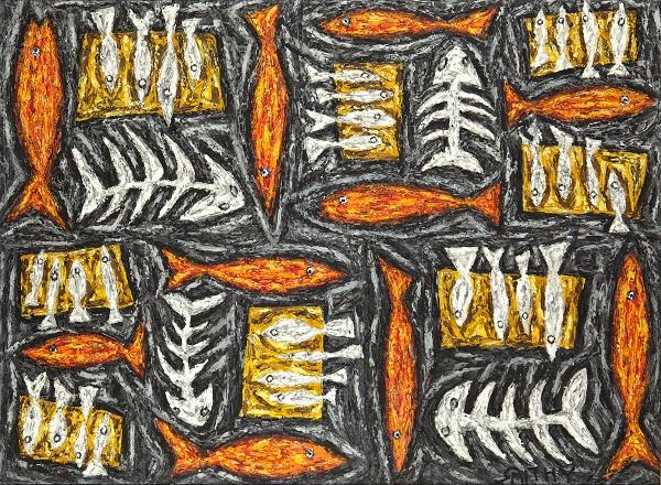 Fish and Loaves 2 acrylic on canvas 110 x 150cm (framed)