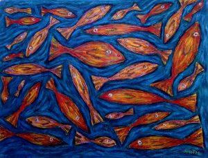 In the deep acrylic on canvas, 70 x 95 cm