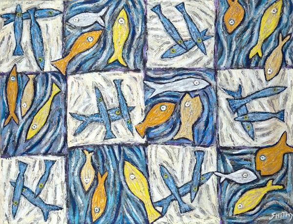 In The Blue acrylic on camvas, 106 x 136cm