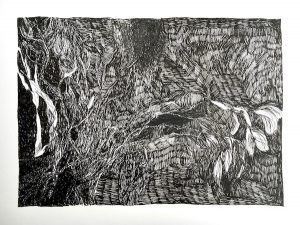 Into the scrub ink on paper, 24 x 33 cm