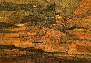 Living desert broken hill, ink on paper, 77cm x 112cm