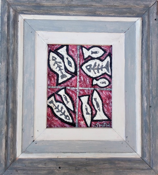 Red Herring acrylic on canvas, 44cm x 50cm (incl. frame)