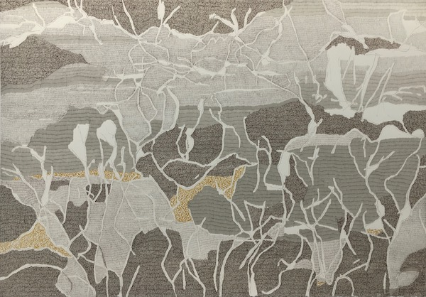 Sand and brush ink on paper, 77cm x 112cm