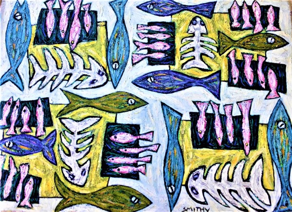 Sea Life acrylic on canvas, 110 x 150cm