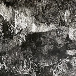 Second point trail 2 bouddi ink on paper, 77cm x 114cm