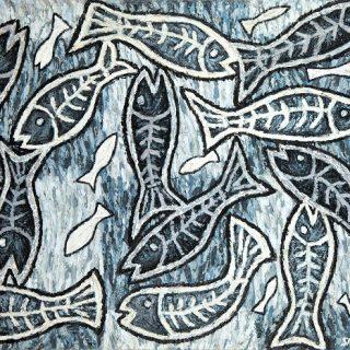 Skeletal Fish acrylic on canvas 136 x 107cm