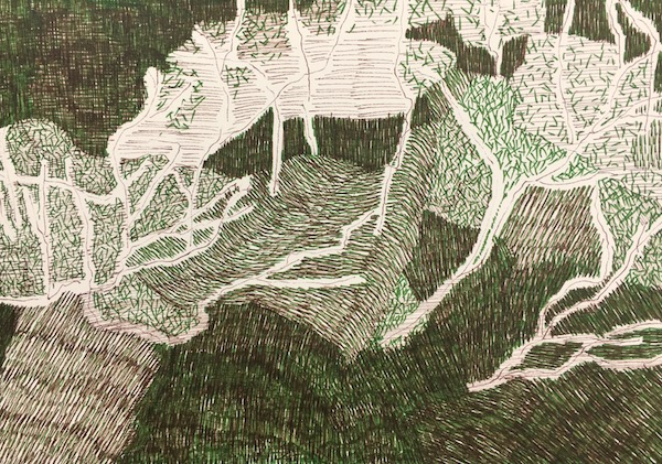 Tracks through bouddi ink on paper, 21cm x 29 7cm