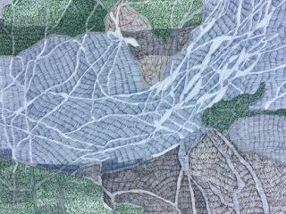 Weavings in bouddi ink on paper, 57cm x 76cm