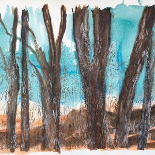 Burnt Landscape, mixed media on paper, 78 x 107cm
