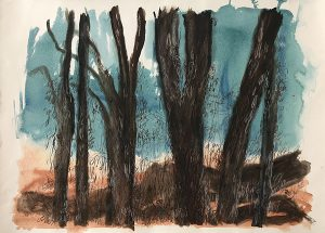 Burnt landscape mixed media on paper 78 x 107cm