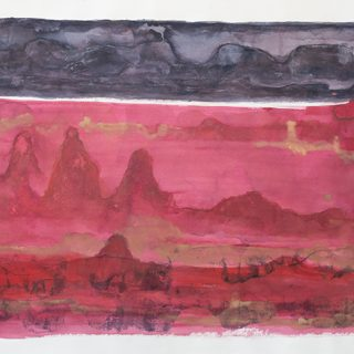 Double Landscape iii, mixed media on paper 79 x 107cm