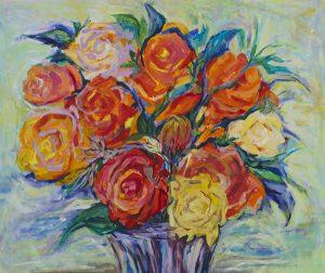 Floral arrangement 2 acrylic on canvas, 61 x 50cm