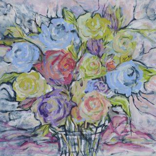 Floral Arrangement 3 acrylic on canvas 61 x 50cm