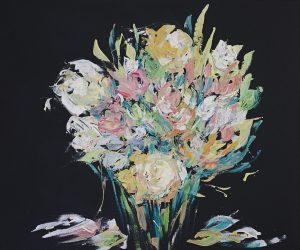 Floral arrangement 4 acrylic on canvas, 61 x 50cm